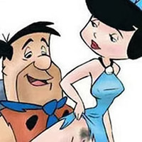 Pebbles choking on Fred Flintstone's wang
