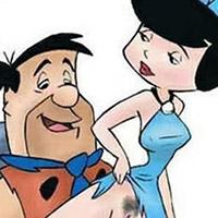 Pebbles choking on Fred Flintstone's wang
